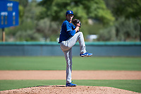Los Angeles Dodgers relief pitcher Connor Mitchell (49) delivers a pitch during an Instructional League game against the San Diego Padres at Camelback Ranch on September 25, 2018 in Glendale, Arizona. (Zachary Lucy/Four Seam Images)