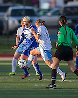 Chicago Red Stars midfielder/forward Lori Chalupny (17) intercepts a ball intended for Boston Breakers forward Kyah Simon (17).  In a National Women's Soccer League Elite (NWSL) match, the Boston Breakers defeated  Chicago Red Stars 4-1, at the Dilboy Stadium on May 4, 2013.