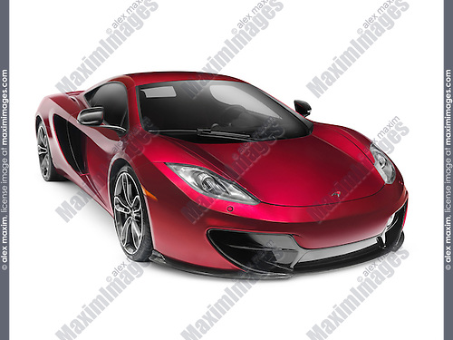 Red 2015 McLAREN 12C Coupe sports car supercar isolated on white background with clipping path