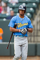 Nick Williams (1) of the Myrtle Beach Pelicans walks back to the dugout after striking out against the Winston-Salem Dash at BB&T Ballpark on May 7, 2014 in Winston-Salem, North Carolina.  The Pelicans defeated the Dash 5-4 in 11 innings.  (Brian Westerholt/Four Seam Images)
