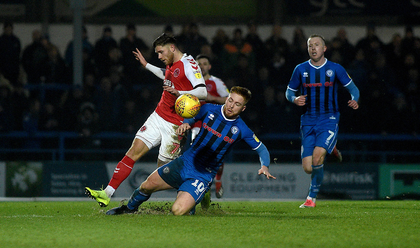 Fleetwood Town's Wes Burns battles with  Rochdale's Callum Camps<br /> <br /> Photographer Hannah Fountain/CameraSport<br /> <br /> The EFL Sky Bet League One - Rochdale v Fleetwood Town - Saturday 19 January 2019 - Spotland Stadium - Rochdale<br /> <br /> World Copyright © 2019 CameraSport. All rights reserved. 43 Linden Ave. Countesthorpe. Leicester. England. LE8 5PG - Tel: +44 (0) 116 277 4147 - admin@camerasport.com - www.camerasport.com