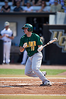 Siena Saints left fielder Jonathan Crimmin (16) follows through on a swing during a game against the UCF Knights on February 17, 2019 at John Euliano Park in Orlando, Florida.  UCF defeated Siena 7-1.  (Mike Janes/Four Seam Images)