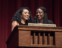 "Black Student Alliance members Mika Cribbs '16 and Diamond Webb '16 introduce Angela Davis. Scholar, author and cultural theorist Angela Davis speaks on ""Black Liberation, History and the Contemporary Vision"" as the culmination of the Black Student Alliance's Black History Month observances, Feb. 29, 2016 in Thorne Hall.<br /> (Photo by Marc Campos, Occidental College Photographer)"