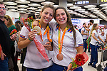 Spanish's paralympic Nuria Marques and Ariadna Edo arrive to Madrid Adolfo Suarez airport after the Paralympics of Rio 2016 . September 21, 2016. (ALTERPHOTOS/Rodrigo Jimenez)