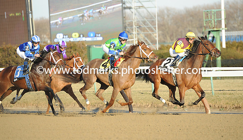 Kiss The Lady, Ruby Lips, and Asiya (3) duel early in Busanda at Aqueduct on Jan. 5.
