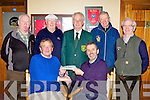 Laune Rangers Chairman Declan Falvey presents the winner of the GAA club annual draw Gearoid O'Keeffe Caherciveen tickets to the US Master's Golf Championship in Dooks Golf course on Wednesday back row l-r: Eamon Crowley Treasurer, WD O'Grady winning ticket seller, Maurice Sullivan President, Pat Healy Laune Rangers and Austin O'Reilly