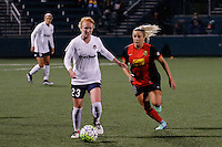 Rochester, NY - Friday April 29, 2016: Washington Spirit midfielder Victoria Huster (23) and Western New York Flash forward Adriana Leon (19) The Washington Spirit defeated the Western New York Flash 3-0 during a National Women's Soccer League (NWSL) match at Sahlen's Stadium.