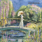 Marcello, LANDSCAPES, LANDSCHAFTEN, PAISAJES, paintings+++++,ITMCEDC1018B,#L# ,bridge,lake,romantique,woman,umbrella,