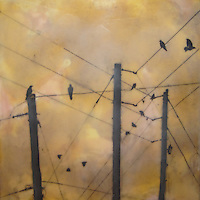 Mixed media encaustic photo painting of communication - crows on telephone poles and powerlines.