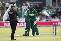 Imam-ul-Haq (Pakistan) is congratulated by Mohammad Hafeez (Pakistan) on his century during Pakistan vs Bangladesh, ICC World Cup Cricket at Lord's Cricket Ground on 5th July 2019