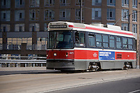 A TTC streetcar is pictured on Front street April 22, 2010. The Toronto streetcar system is operated by the Toronto Transit Commission (TTC), the municipal public transit operator.