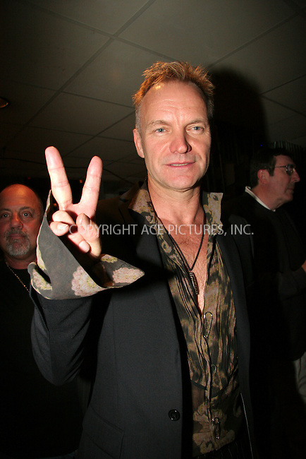 WWW.ACEPIXS.COM . . . . .  ....May 19 2006, New York City......Musician Sting backstage at the Rainforest Foundation Benefit Concert at Carnegie Hall in Manhattan.......Please byline: NANCY RIVERA- ACEPIXS.COM.... *** ***..Ace Pictures, Inc:  ..(212) 243-8787..e-mail: picturedesk@acepixs.com..web: http://www.acepixs.com