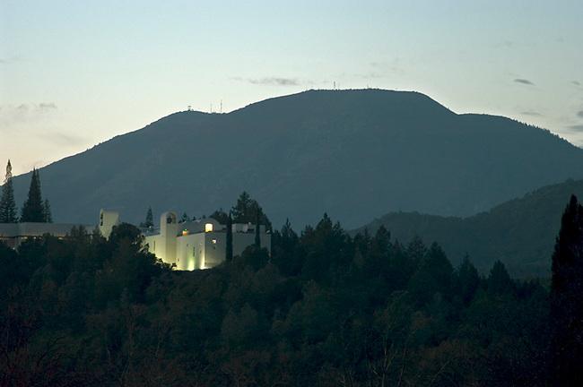 Mile high Mt. St. Helena looms behind Sterling Vineyards, Calistoga, Ca.