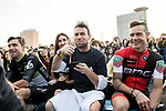 Bernhard Eisel (AUT) Peta and Mark Cavendish (GBR) Dimension Data and Nicolas Roche (IRL) BMC are introduced to the crowd before the Tour de France Saitama Crit&eacute;rium 2017 held around the streets os Saitama, Japan. 3rd November 2017.<br /> Picture: ASO/Pauline Ballet | Cyclefile<br /> <br /> <br /> All photos usage must carry mandatory copyright credit (&copy; Cyclefile | ASO/Pauline Ballet)