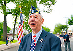 American Legion Commander Edward Sholander marching in Merrick Memorial Day Parade hosted by his American Legion Post, on May 28, 2012, on Long Island, New York, USA. Commander Edward Sholander's Merrick Post 1282 hosted the Memorial Day Parade and Ceremonies. America's war heroes are honored on this National Holiday.