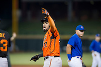 AZL Giants first baseman Nathanael Javier (47) displays some excitement after a fourth inning single against the AZL Cubs on September 6, 2017 at Sloan Park in Mesa, Arizona. AZL Giants defeated the AZL Cubs 6-5 to even up the Arizona League Championship Series at one game a piece. (Zachary Lucy/Four Seam Images)
