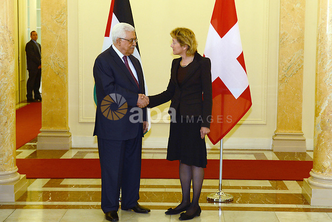 Palestinian President Mahmud Abbas with Swiss President Eveline Widmer-Schlumpf (R) pose3s during an official visit to Switzerland on November 15, 2012 in Bern. Abbas is scheduled to present its bid for non-state UN membership before the UN General Assembly on November 29. Photo by Thaer Ganaim