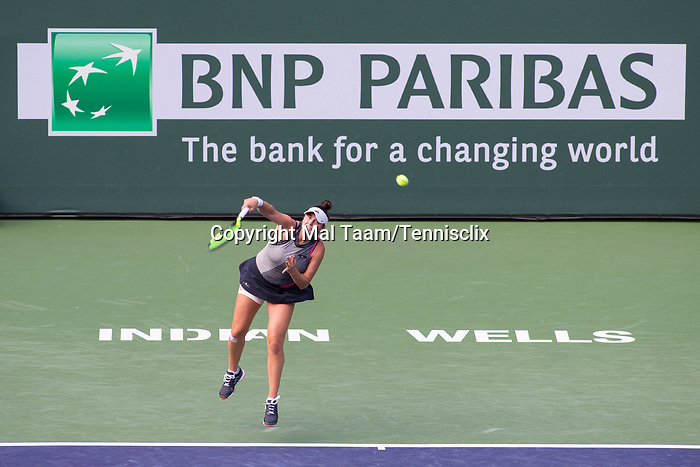 March 11, 2018: Caroline Dolehide (USA) defeated by Simona Halep (ROU) 1-6, 7-6 (3), 6-2 at the BNP Paribas Open played at the Indian Wells Tennis Garden in Indian Wells, California. ©Mal Taam/TennisClix/CSM