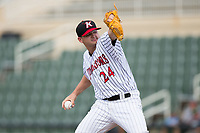 Kannapolis Intimidators relief pitcher Mike Morrison (24) in action against the West Virginia Power at Kannapolis Intimidators Stadium on June 18, 2017 in Kannapolis, North Carolina.  The Intimidators defeated the Power 5-3 to win the South Atlantic League Northern Division first half title.  It is the first trip to the playoffs for the Intimidators since 2009.  (Brian Westerholt/Four Seam Images)
