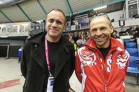 SCHAATSEN: HEERENVEEN: Thialf, Essent ISU World Cup, 03-03-2012, Aleksei Kravtsov (head of the Russian Skating Union), coach Kosta Poltavets (RUS), ©foto: Martin de Jong