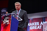 National Harbor, MD - February 28, 2019: U.S. Senator Lindsey Graham addresses attendees of the annual Conservative Political Action Conference (CPAC) held at the Gaylord National Resort at National Harbor, MD February 28, 2019.  (Photo by Don Baxter/Media Images International)