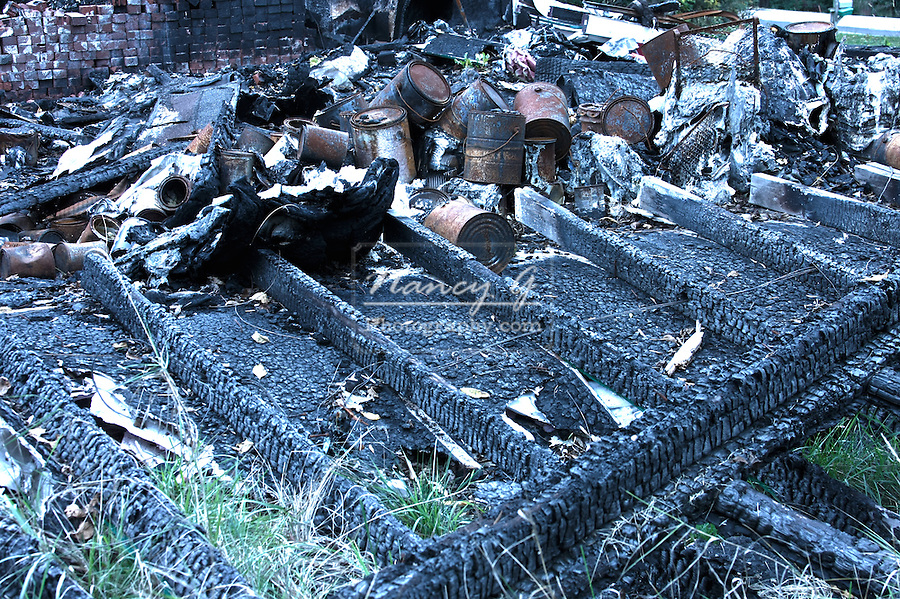 Fire damage debris left from a garage burned down