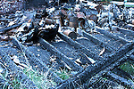 Fire damage debris left from a garage burned down
