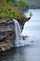 Spray Falls along the Pictured Rocks National Lakeshore shoreline. Munising, MI
