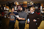 Lin-Manuel Miranda, Josh Groban and Cate Blanchett during the cast of 'Hamilton' 2016 Door Decorating Competition at Richard Rodgers Theatre on December 23, 2016 in New York City.