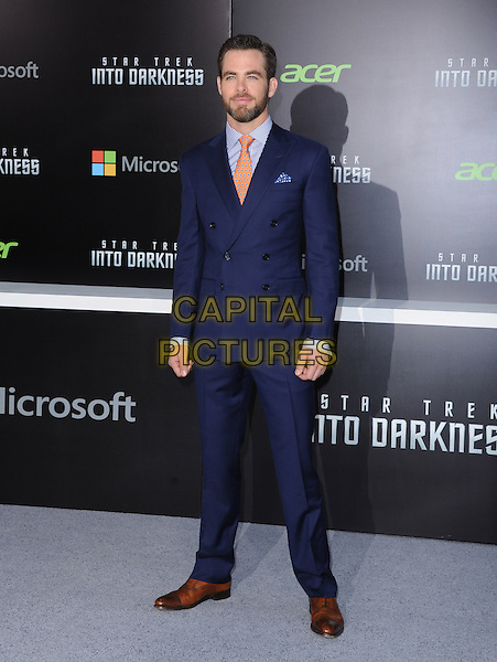 "Chris Pine.Premiere of ""Star Trek Into Darkness"" held at The Dolby Theater in Hollywood, California, USA..May 14th, 2013.full length blue suit orange tie beard facial hair .CAP/DVS.©DVS/Capital Pictures"