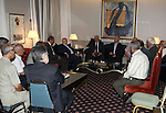 Palestinian President Mahmoud Abbas meets with members of the Fatah movement, in The Syrian Capital of Damascus.