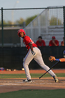 Jimmy Barnes (17) of the AZL Angels bats during a game against the AZL Rangers at the Texas Rangers Spring Training Complex on July 1, 2015 in Surprise, Arizona. Rangers defeated the Angels, 3-1. (Larry Goren/Four Seam Images)