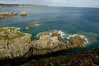 Rugged coastline near the Cap Frehel peninsula, Brittany, France.