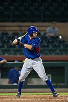 AZL Rangers second baseman Myles McKisic (9) at bat against the AZL Giants on September 4, 2017 at Scottsdale Stadium in Scottsdale, Arizona. AZL Giants defeated the AZL Rangers 6-5 to advance to the Arizona League Championship Series. (Zachary Lucy/Four Seam Images)
