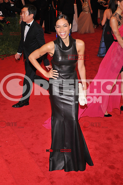 Rosario Dawson at the 'Schiaparelli And Prada: Impossible Conversations' Costume Institute Gala at the Metropolitan Museum of Art on May 7, 2012 in New York City. ©mpi03/MediaPunch Inc.