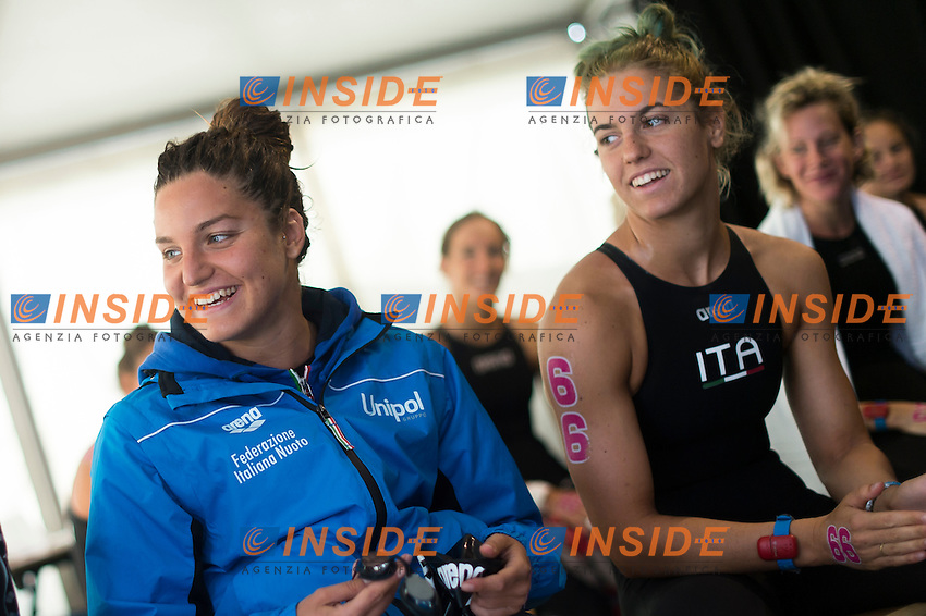 RAIMONDI Ilaria ITA and GABBRIELLESCHI Giulia<br /> Hoorn, Netherlands <br /> LEN 2016 European Open Water Swimming Championships <br /> Open Water Swimming<br /> Women's 5km<br /> Day 02 12-07-2016<br /> Photo Giorgio Perottino/Deepbluemedia/Insidefoto