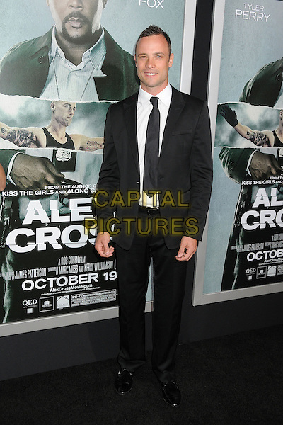 "Oscar Pistorius.""Alex Cross"" Los Angeles Premiere held at the Arclight Cinerama Dome, Hollywood, California, USA..October 15th, 2012.full length suit black white shirt tie.CAP/ADM/BP.©Byron Purvis/AdMedia/Capital Pictures."