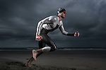 ENCINITAS, CA- APRIL 22 :  Model poses in Xterra Wetsuit at Ponto Beach in Carlsbad, CA  (Photo by Donald Miralle)