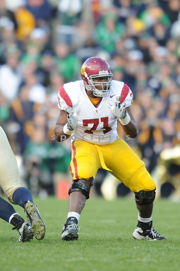 CHARLES BROWN, of the USC Trojans, in action during the Trojans game against the Notre Dame Fighting Irish on October 17, 2009 in South Bend, Indiana. The Trojans  beat the irish  34-27 ..