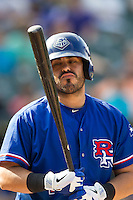 Round Rock Express designated hitter Geovany Soto (16) designated hitter during the first game of a Pacific Coast League doubleheader against the Memphis Redbirds on August 3, 2014 at the Dell Diamond in Round Rock, Texas. The Redbirds defeated the Express 4-0. (Andrew Woolley/Four Seam Images)