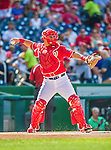 6 September 2014: Washington Nationals catcher Wilson Ramos in action against the Philadelphia Phillies at Nationals Park in Washington, DC. The Nationals fell to the Phillies 3-1 in the second game of their 3-game series. Mandatory Credit: Ed Wolfstein Photo *** RAW (NEF) Image File Available ***