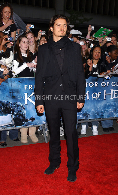 WWW.ACEPIXS.COM . . . . . ....NEW YORK, MAY 4, 2005....Orlandon Bloom at the 'Kingdom of Heaven' premiere held at the Ziegfeld Theater... ..Please byline: KRISTIN CALLAHAN - ACE PICTURES.. . . . . . ..Ace Pictures, Inc:  ..Craig Ashby (212) 243-8787..e-mail: picturedesk@acepixs.com..web: http://www.acepixs.com