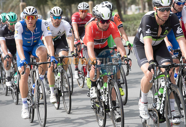 Marcel Kittel (GER) Quick-Step Floors and race leader Mark Cavendish (GBR) with his leadout man Mark Renshaw (AUS) Team Dimension Data in action during Stage 2 the Nation Towers Stage of the 2017 Abu Dhabi Tour, running 153km around the city of Abu Dhabi, Abu Dhabi. 24th February 2017<br /> Picture: ANSA/Claudio Peri | Newsfile<br /> <br /> <br /> All photos usage must carry mandatory copyright credit (&copy; Newsfile | ANSA)