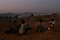 06.11.2008 Pushkar(Rajasthan) <br /> <br /> Group of man making fire and cooking on the camel camp during the annual cattle fair.<br /> <br /> Groupe d' hommes en train de faire du feu et la cuisine sur le camp pendant la foire au b&eacute;tail annuelle.