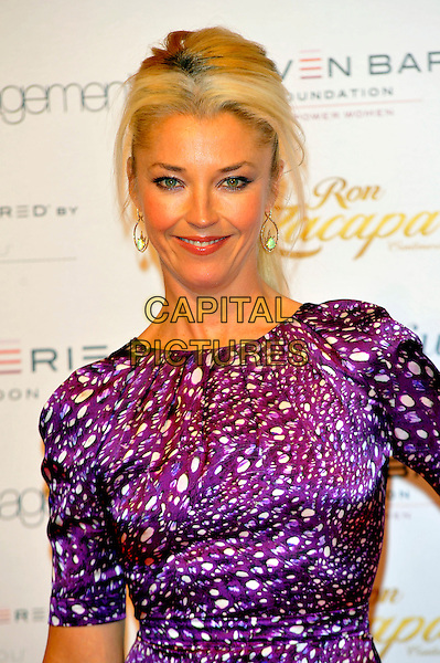 Tamara Beckwith.Lingerie London held at Old Billingsgate, London, England..October 24th, 2012.half length purple white pattern dress   .CAP/CJ.©Chris Joseph/Capital Pictures.