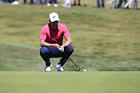 Lucas Bjerregaard (DEN) on the 5th green during Saturday's Round 3 of the 2018 Omega European Masters, held at the Golf Club Crans-Sur-Sierre, Crans Montana, Switzerland. 8th September 2018.<br /> Picture: Eoin Clarke | Golffile<br /> <br /> <br /> All photos usage must carry mandatory copyright credit (&copy; Golffile | Eoin Clarke)