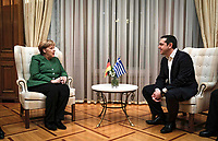 Pictured: German Chancellor Angela Merkel with Greek Prime Minister Alexis Tsipras at Maximou Mansion (Megaro Maximou) in Athens, Greece.<br /> Re: Official visit of German Chancellor Angela Merkel  to Athens, Greece.
