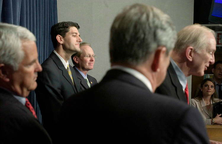 06/22/05.GROW ACCOUNTS/SOCIAL SECURITY--Republican Policy Committee Chairman John Shadegg, R-Ariz., Paul Ryan, R-Wis., House Ways and Means Social Security Subcommittee Chairman Jim McCrery, R-La., E. Clay Shaw Jr., R-Fla., and Sam Johnson, R-Texas, during a news conference announcing a proposal instituting GROW (Growing Real Ownership for Workers) accounts aimed at protecting the Social Security surplus by creating personal accounts. The proposal is supported by Ways and Means Chairman Bill Thomas, R-Calif.  .CONGRESSIONAL QUARTERLY PHOTO BY SCOTT J. FERRELL