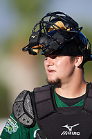 Daytona Tortugas catcher Chris Okey (25) walks to the dugout from the bullpen during a game against the Florida Fire Frogs on April 6, 2017 at Osceola County Stadium in Kissimmee, Florida.  Daytona defeated Florida 3-1.  (Mike Janes/Four Seam Images)
