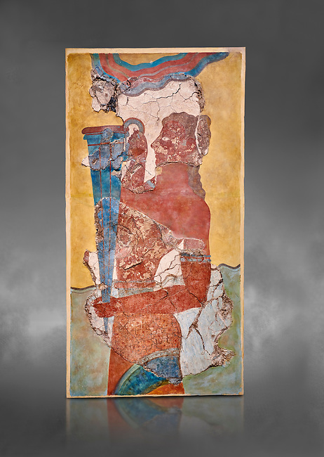 The Minoan 'Cup Bearer' from the 'Procession Fresco', wall art from the South Prpylaeum, Knossos Palace, 1500-1400 BC . Heraklion Archaeological Museum.  Grey Background. <br /> <br /> The 'Cup Bearer' depicts a youth with long black hair, a naked torso and a richly decorated kilt carrying a large silver rhuyhon ceremonial vessel. This large Minoan fresco of many figure in procession would have decorated the corridor between the West Porch and the South Propylaeum of Knossos Palace. Both sides of the corridor were painted with hundreds of male and femal;e figures carrying precious utensils and vessels, probably depicting gift bearers to the ruler of the Palace. The composition is much like those found in the Palaces and tombs of Egypt and the near east at the time. Neopalatial final period.